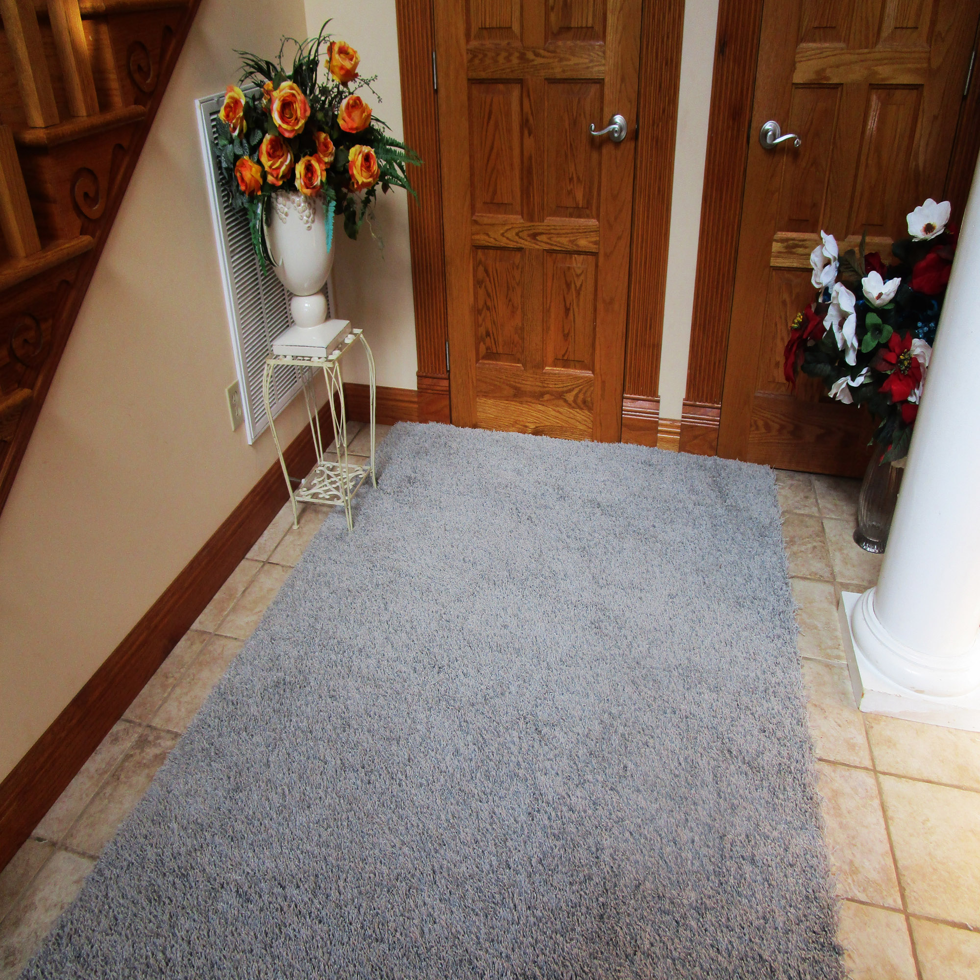 Chrome Gray Shag Rug